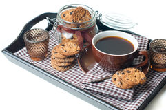 Fresh breakfast, coffee and cookies Royalty Free Stock Photo