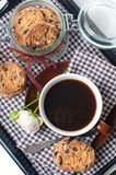 Fresh breakfast, coffee and cookies Royalty Free Stock Image