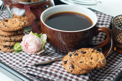 Fresh breakfast, coffee and cookies Royalty Free Stock Photography