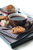 Fresh breakfast, coffee and cookies Stock Images
