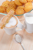 Fresh breakfast coffee and pastry Stock Images