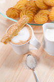 Fresh breakfast coffee and pastry Stock Photos