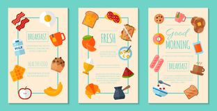 Fresh breakfast concept set of posters or banners vector illustration. Healthy start day. Eating in the morning. Good. Fresh breakfast concept set of posters or stock illustration