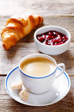 Fresh Breakfast with croissant, espresso and jam Stock Photo