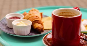 Fresh breakfast croissants with cocoa. With marshmelow stock footage
