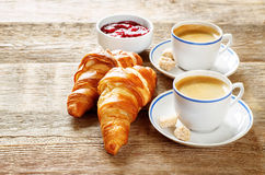 Fresh Breakfast with croissants, espresso and jam Royalty Free Stock Photos