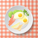Fresh breakfast with fried egg, bacon,slice toast, leaf salad  Royalty Free Stock Photography