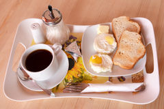 Fresh breakfast of fried eggs Stock Images