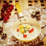 Fresh Breakfast with fried eggs pan Royalty Free Stock Photography