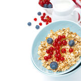 Fresh breakfast - muesli with blueberries and redcurrants Stock Photography