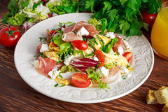 Fresh breakfast Omelette Salad with Parma Ham, feta cheese and vegetables Stock Photography