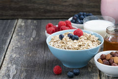 fresh breakfast products on a dark wooden background, horizontal Royalty Free Stock Image