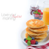Fresh breakfast with Russian cottage cheese pancakes Royalty Free Stock Image