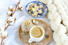 Fresh Breakfast Yogurt with Muesli Banana Berries Chia Seeds Granola. Cotton Flower White Giant Knit Blanket Bedroom Healthy Lifestyle stock image