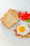 Fresh breakfest - ham, eggs, vegetable and toast Royalty Free Stock Photography