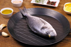Fresh bream fish on frying pan and ingredients Royalty Free Stock Photo