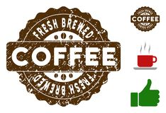 Fresh Brewed Badge Stamp with Dirty Texture. Fresh Brewed quality medallion stamp. Vector seal with grunge style and coffee color for watermark imitations. Brown vector illustration