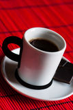 Fresh brewed coffee and chocolate Royalty Free Stock Images