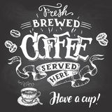 Fresh brewed coffee served here hand lettering. Fresh brewed coffee served here and have a cup. Hand lettering with a sketch of a coffee cup. Vintage typography royalty free illustration