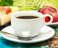 Fresh brewed cup of deliciious coffee ready for drinking stock photos
