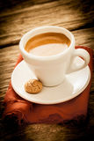 Fresh brewed espresso coffee in a country kitchen Royalty Free Stock Photos