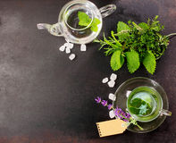 Fresh brewed peppermint tea with fresh ingredients Royalty Free Stock Photo