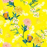 Fresh and bright blooming flowers, branches, leaves and birds. vector illustration