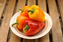 Fresh bright colored bell peppers in white plate Stock Images