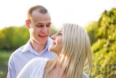 Fresh bright portrait of young couple outdoors. Royalty Free Stock Images