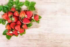 Fresh bright tasty strawberry close-up. Text space, top view royalty free stock photography