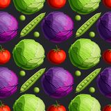 Fresh bright vegetables green and red cabbage, tomato and peas seamless pattern on black background. Cartoon style vector illustration royalty free illustration