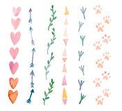 Fresh and bright watercolor design elements: hearts, arrows, traces. Set of hand drawn abstract colorful objects Stock Photos