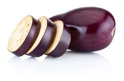 Fresh brinjal and sliced isolated on white background. Fresh brinjal and sliced isolated on a white background Stock Photography
