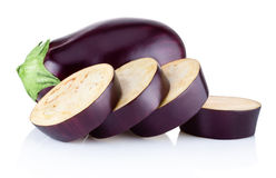 Fresh brinjal and sliced  on white background Royalty Free Stock Image