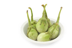 Fresh brinjal in white blow for thai food on white backgrond Royalty Free Stock Photography