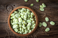 Fresh broad beans Stock Photo