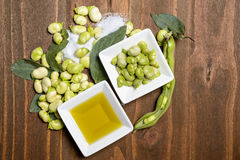 Fresh broad beans in Flat lay. Royalty Free Stock Image