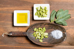 Fresh broad beans in Flat lay. Royalty Free Stock Photo