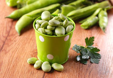 Fresh broad beans in the kitchen Stock Photos