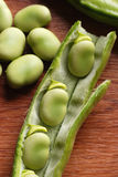 Fresh broad beans in the kitchen Royalty Free Stock Photos