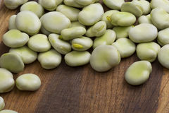 Fresh broad beans. On wooden board Royalty Free Stock Photo