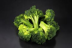 Fresh broccoli with a black background royalty free stock photo