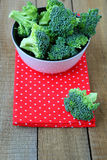 Fresh broccoli in a bowl on the table. Food closeup Stock Image