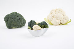 Fresh broccoli and cauliflower. On a white background Royalty Free Stock Image