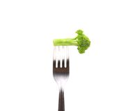 Fresh broccoli on a fork. Royalty Free Stock Photo