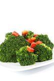 Fresh Broccoli Garnished with Red Pepper Stock Image