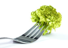 Fresh broccoli head in silver fork Royalty Free Stock Images