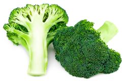 Fresh broccoli isolated on white background. With clipping path.  Stock Photos
