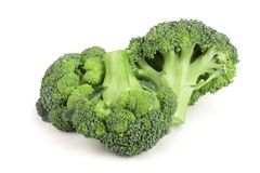 Fresh broccoli isolated on white background close-up. Top view Stock Image