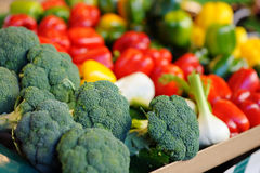 Fresh broccoli and paprika on farmer agricultural market Stock Photography
